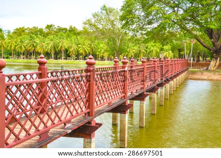 Side view of Ancient design wood bridge in historical national park