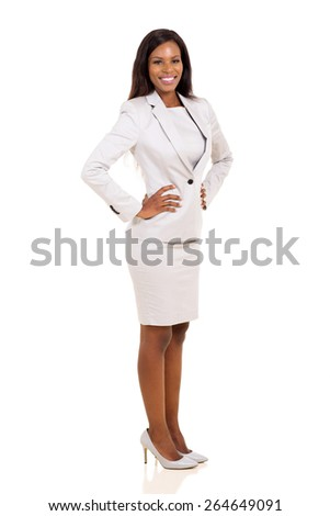 side view of attractive young afro american career woman - stock photo