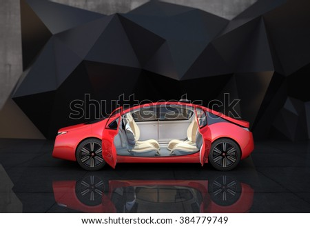 Side view of autonomous car. Through opened doors can see driving seat rotated in 180 degree, easy to take communication face to face.  - stock photo