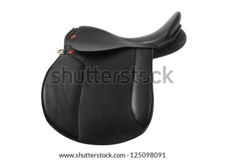 Side view of black leather saddle - stock photo