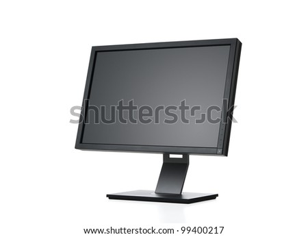 Side view of blank computer monitor isolated on white background with clipping path for the screen