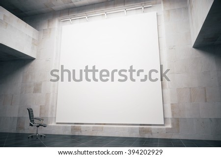 Side view of blank whiteboard in concrete interior with swivel-chair. Mock up, 3D Render - stock photo