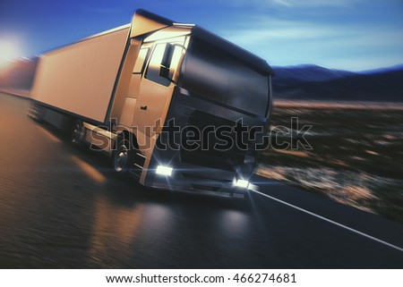 Side view of blurry truck on countryside road. 3D Rendering