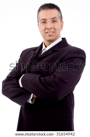 side view of boss with crossed arms looking at camera with white background - stock photo