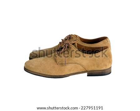 Side view of Brown Man Suede Leather Shoes isolated on white background - stock photo
