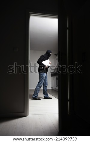 Side view of burglar stealing laptop from house - stock photo