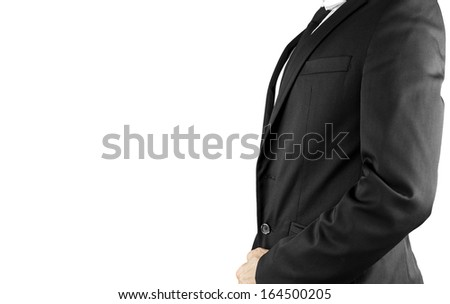 Side view of businessman torso in elegant suit. Over white background. Empty space ready for your text.
