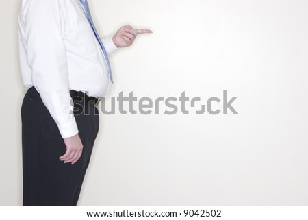 side view of businessman torso raising with hand raised pointing