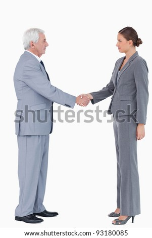 Side view of businesspartner shaking hands against a white background - stock photo