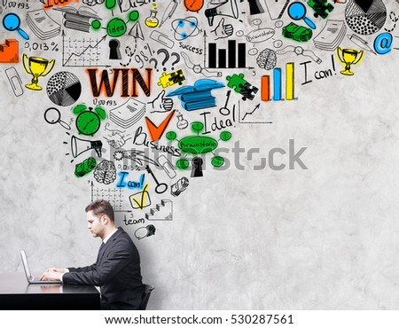 Side view of businessperson using laptop on light concrete background with business sketch. Leadership concept