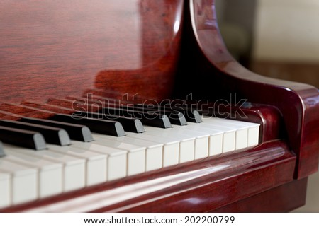 Side View of Classical Piano Keyboard - stock photo