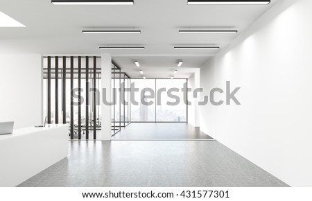 Side view of concrete office lobby with laptops on white reception stand and window with New York city view. 3D Rendering