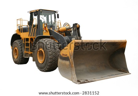 side view of construction machinery with shovel isolated on white