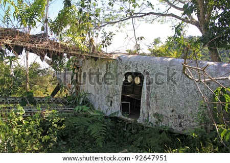"Side view of crashed Russian Antonov An-2 Plane in the Peruvian Amazon. Nicknamed ""Annushka"" or ""Annie"". A single-engine biplane utility/agricultural aircraft designed in the USSR in 1946. - stock photo"