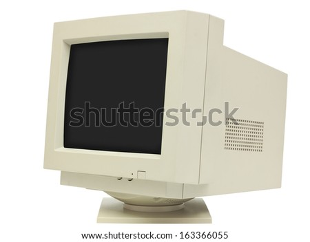 Side view of CRT monitor isolated on white with clipping path - plain dark screen for copy - stock photo