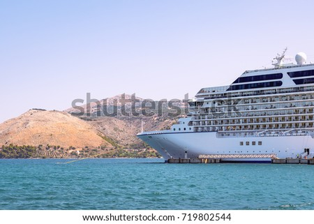 Side View Cruise Ship Docked Greece Stock Photo - Port side of a cruise ship