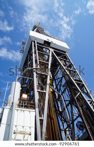 Side View of Derrick of Offshore Drilling Rig (Jack Up Rig) - stock photo