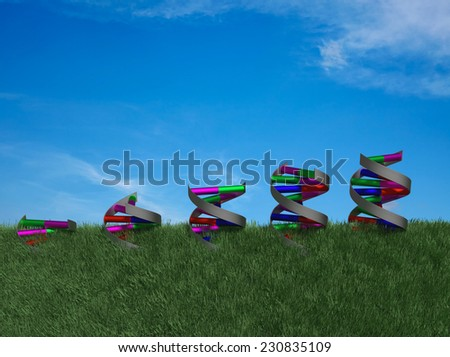 Side view of DNA double helices growing through rendered grass. - stock photo