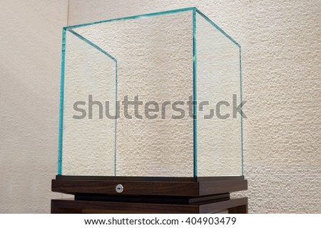 side view of Empty glass showcase display - stock photo