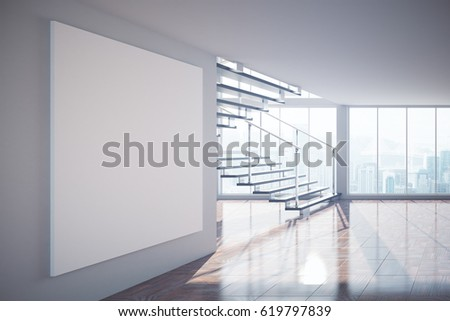 Side view of empty interior with blank poster, staircase, city view and sunlight. Mock up, 3D Rendering