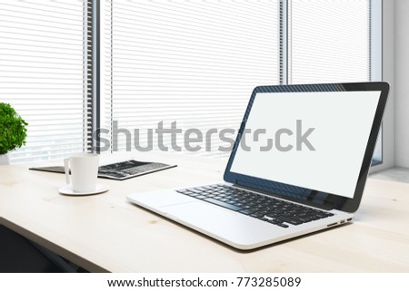 Side view of empty laptop screen placed on wooden office table with coffee cup and decorative plant. Mock up, 3D Rendering