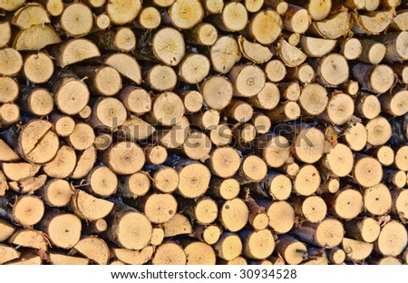 Side view of firewood background
