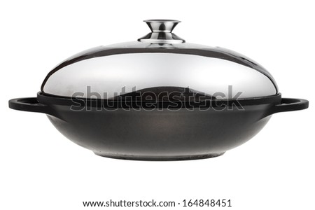 side view of flatter-bottomed wok pan covered by metal lid isolated on white background