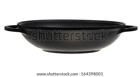 side view of flatter-bottomed wok pan isolated on white background - stock photo