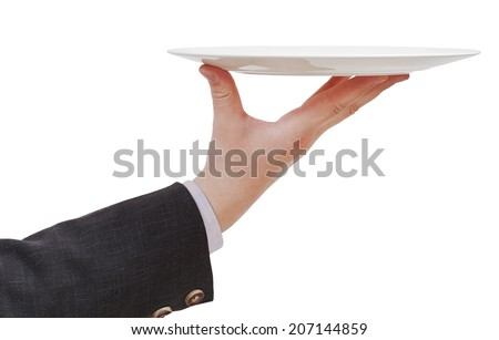 side view of hand with empty flat white plate isolated on white background - stock photo