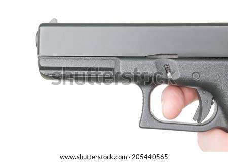 side view of handgun's canon on pure white background - stock photo