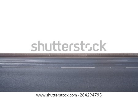Side view of highway road isolated on white background - stock photo