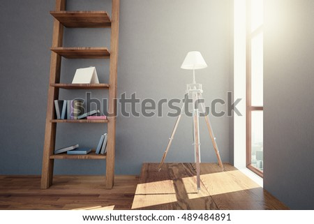 Side View Of Hipster Interior Design With Wooden Floor, Ladder Shelves With  Items And Small