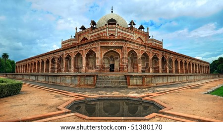 Side view of Humayun Great Mogul mausoleum, New Delhi, India - stock photo