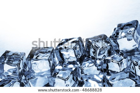 Side view of ice cubes - stock photo
