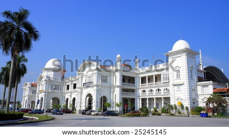 Side view of Ipoh Railway Station on sunny day at Perak, Malaysia.