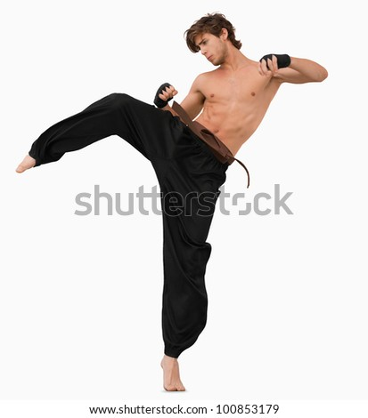 Side view of kicking martial arts fighter against a white background - stock photo