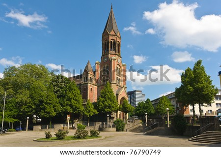 Side view of Kreuzeskirche in Essen, Germany