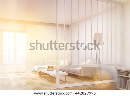 Side view of living room interior design with comfortable sofa, coffee table, floor lamp, bookshelf and window with curtains and sunlight. 3D Rendering - stock photo