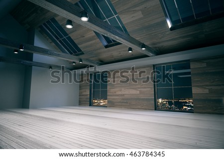 Side view of loft room interior with night city view. Wooden floor, walls, and ceiling. Country style. 3D Rendering
