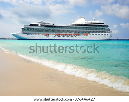 Side View Of Luxury Cruise Ship In Grand Turk Turks And Caicos Islands The