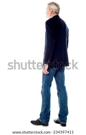 Side view of mature businessman over white