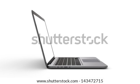 Side view of modern notebook computer isolated on white background - stock photo