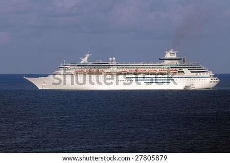 Side view of modern ocean liner in open seas