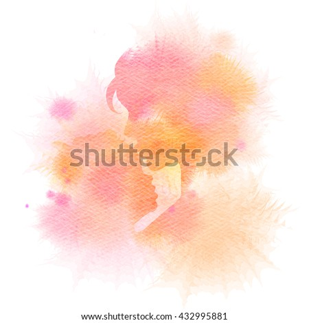 Side view of mother kissing her baby. Double exposure illustration. Mother and baby silhouette plus abstract water color painted. Digital art painting. - stock photo