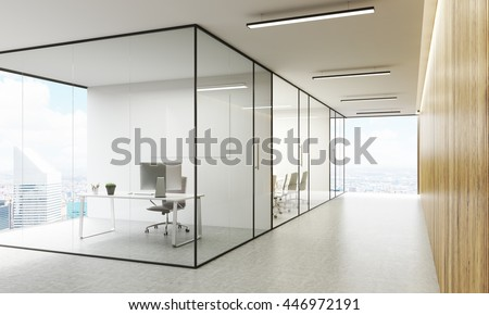 Side view of office interior with blank whiteboard behind glass doors, hallway with concrete floor, wooden wall, ceiling and panoramic windows with New York city view. Mock up, 3D Rendering - stock photo