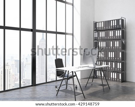 Side view of office interior with computer monitor and lamp on desk, chair, book shelf, concrete floor and window with New York city view. 3D Rendering - stock photo