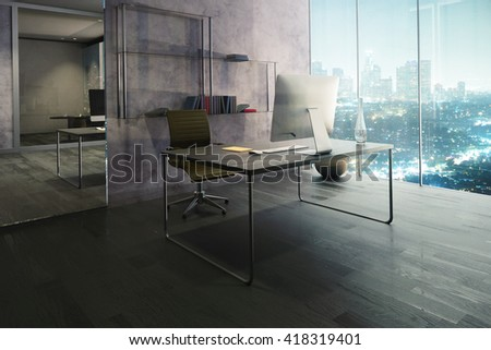 Side view of office interior with workplace, wooden floor, mirrow and illuminated night city view. 3D Rendering - stock photo