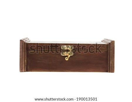 Side view of old wooden box. Isolated on a white background.