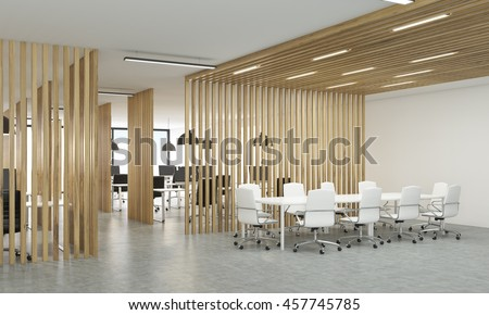 Side view of open office interior with wooden partitions, concrete floor  and meeting area.