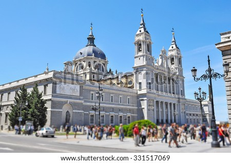 side view of Palacio Real in Madrid - stock photo